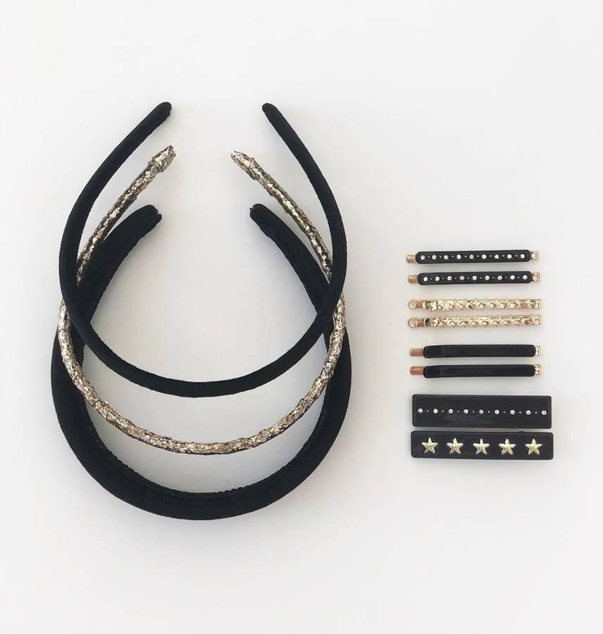 DARK Velvet Hairband Thin ─ Black