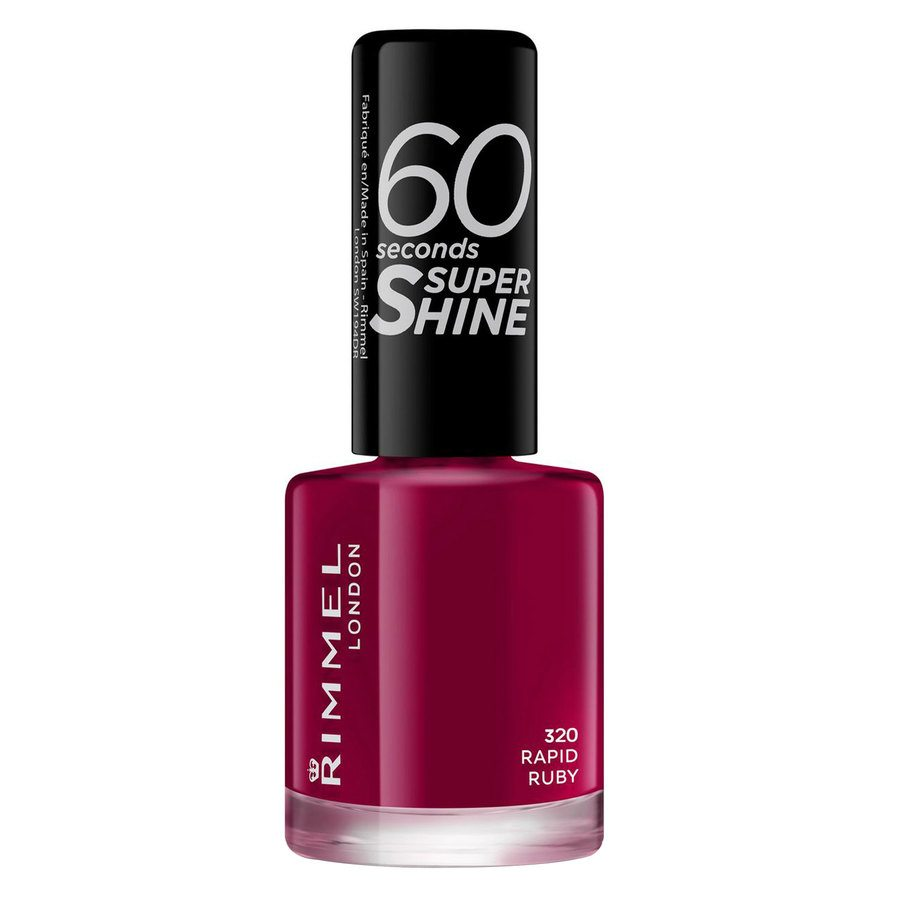 Rimmel London 60 Seconds Super Shine Nail Polish 8 ml ─ #320 Rapid Ruby