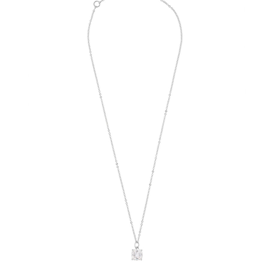 Snö Of Sweden Camille Stone Pendant Necklace 50 cm -─ Silver/Clear