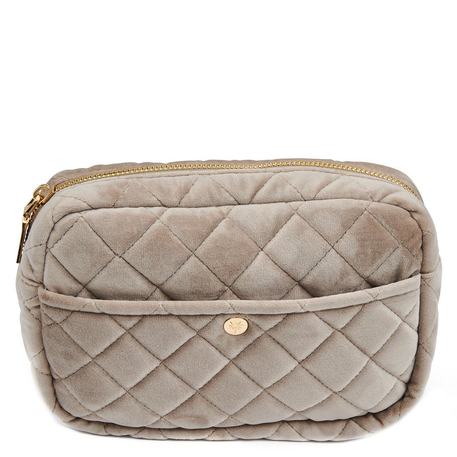 Fan Palm Beauty Bag Quilted Velvet Medium – Camel