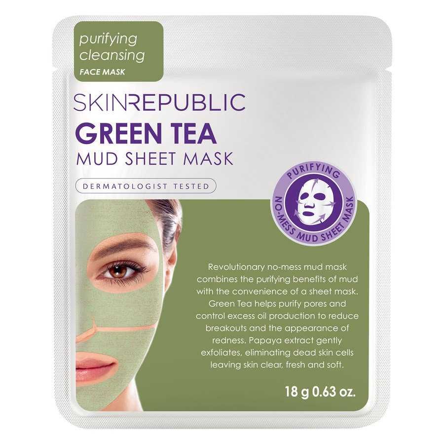 Skin Republic Green Tea Mud Sheet Face Mask 18 g