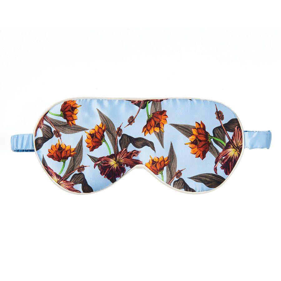 Fan Palm Sleeping Eye Mask Silk Blue Hibiscus 20 x 10 cm
