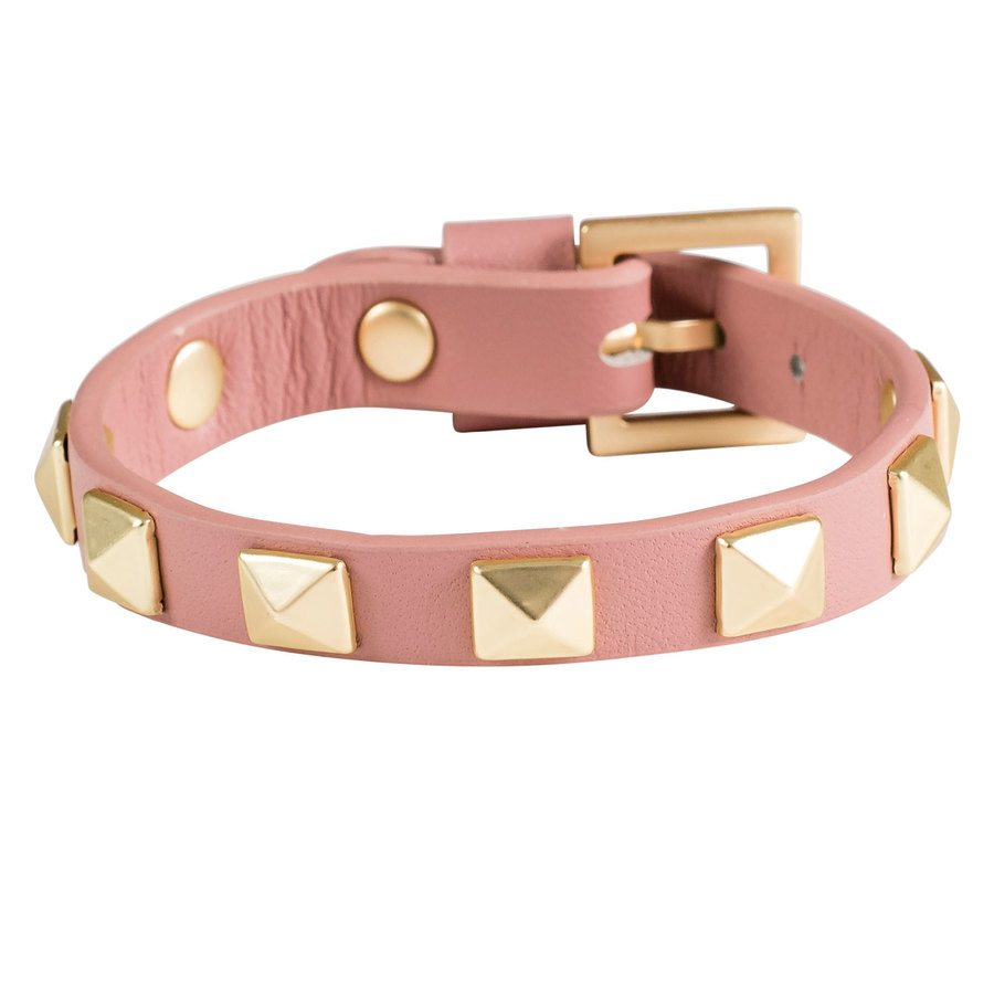 DARK Leather Stud Bracelet ─ Dusty Rose With Matte Gold
