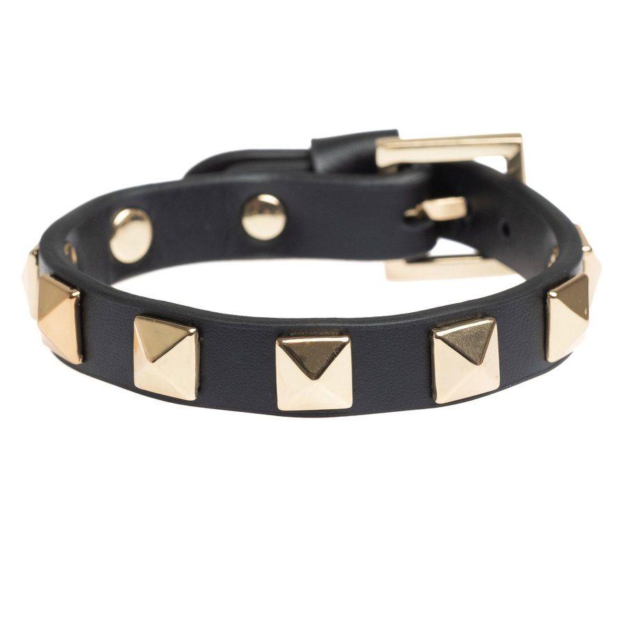DARK Leather Stud Bracelet ─ Black With Gold