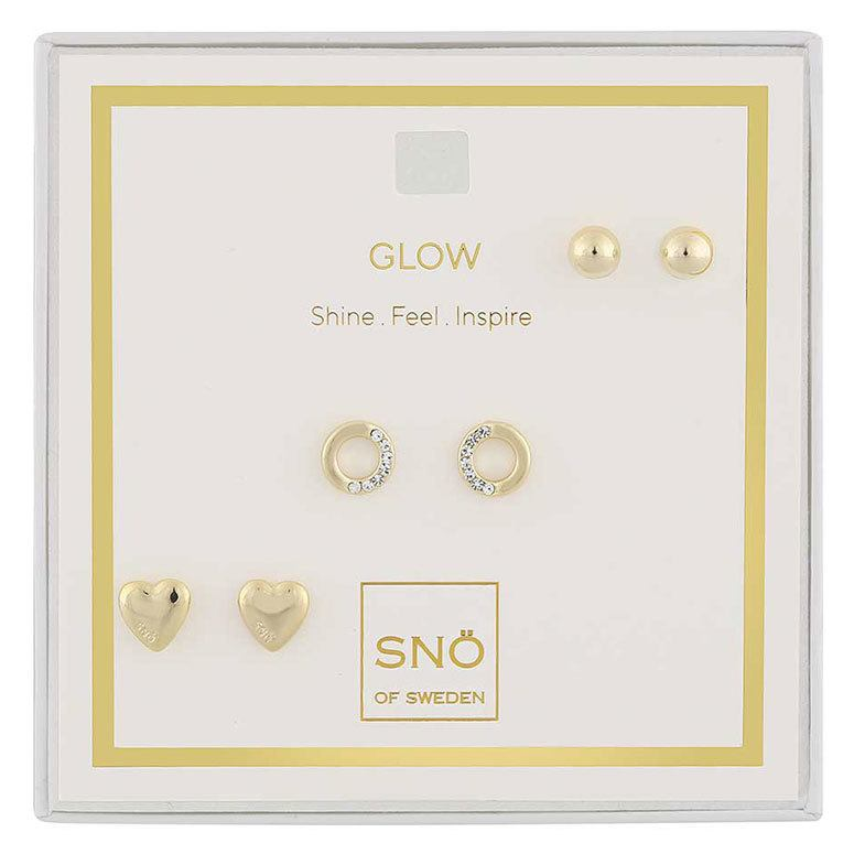 Snö Of Sweden Valentine Glow Earring Set – Gold/Clear