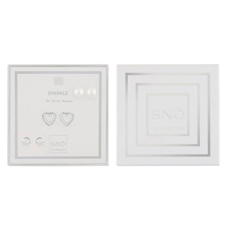 Snö Of Sweden Valentine Sparkle Earring Set – Silver/Clear