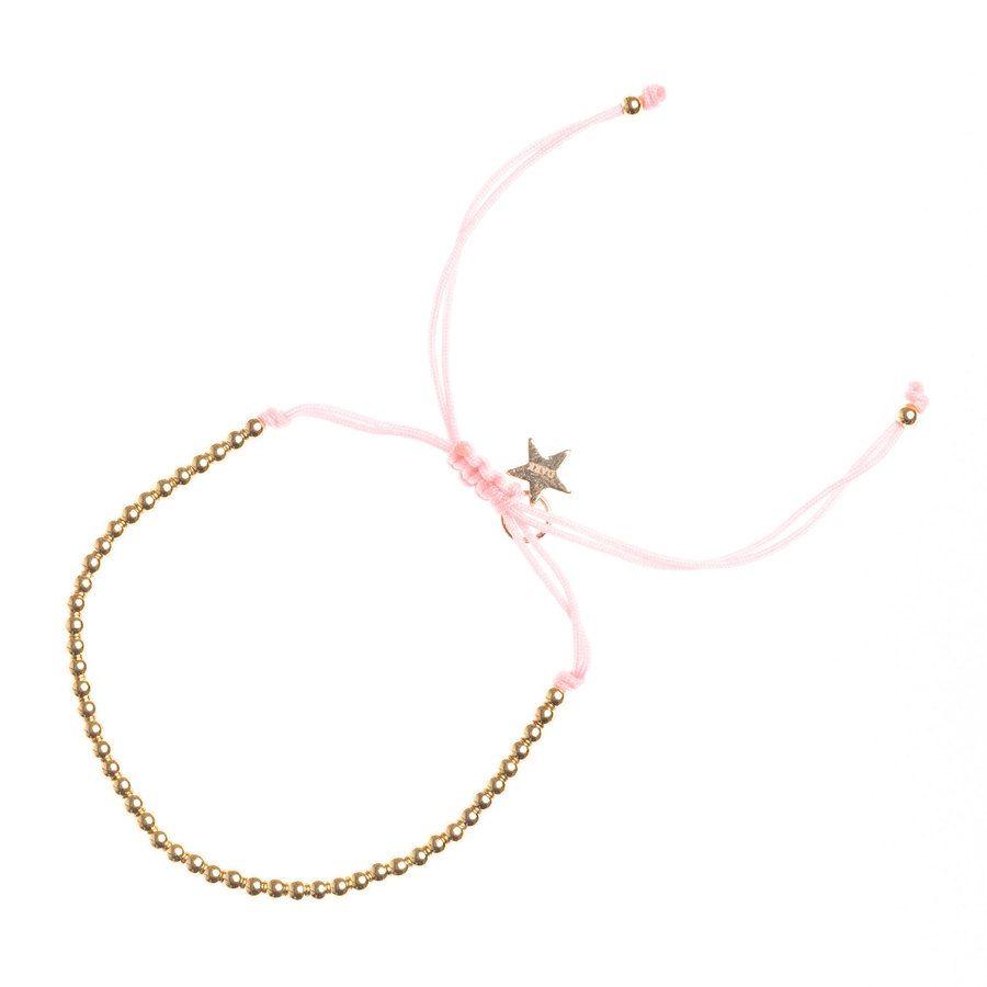 DARK Metal Bead Bracelet Thin ─ Blush Rose