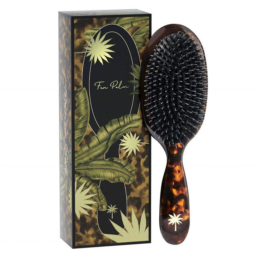 Fan Palm Boar & Nylon Brush Tortoise Shell ─ Medium