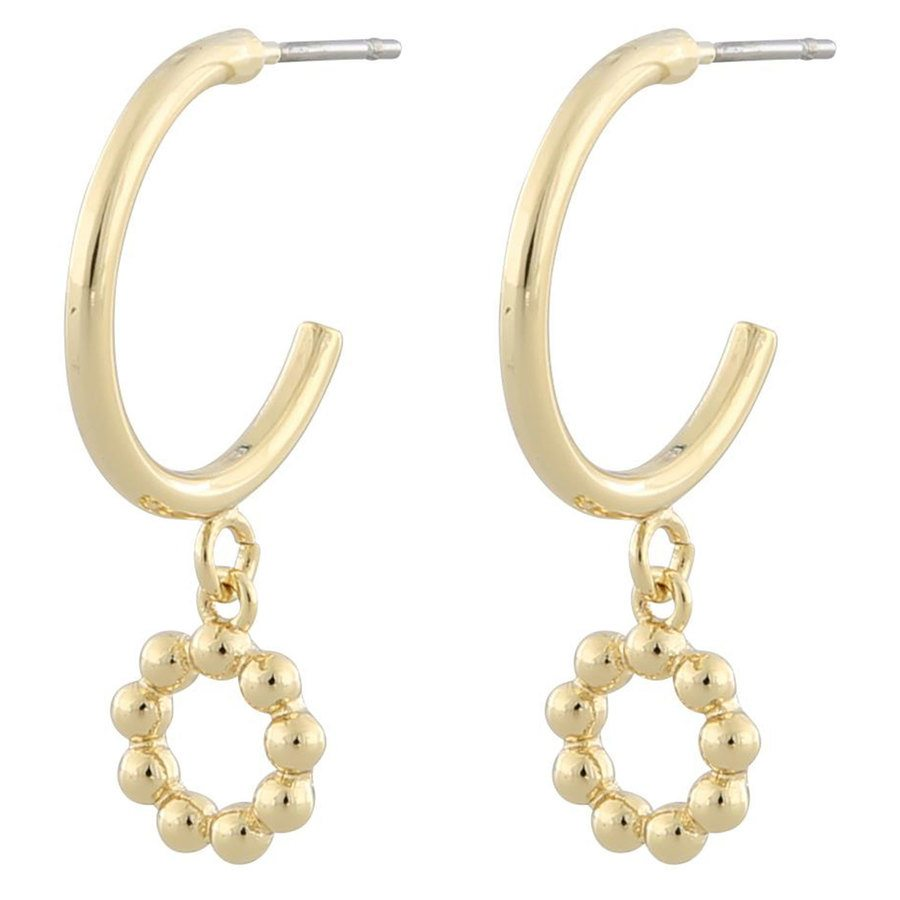 Snö Of Sweden Point Small Oval Pendant Earring ─ Plain Gold