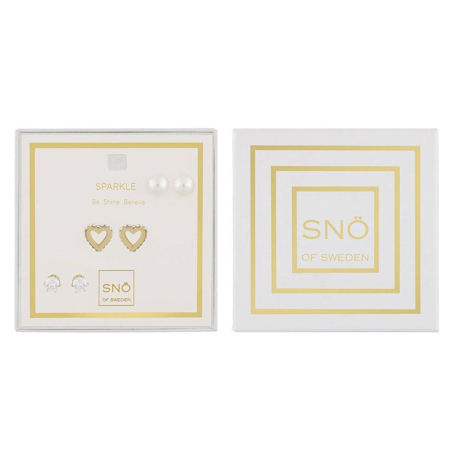 Snö Of Sweden Valentine Sparkle Earring Set – Gold/Clear