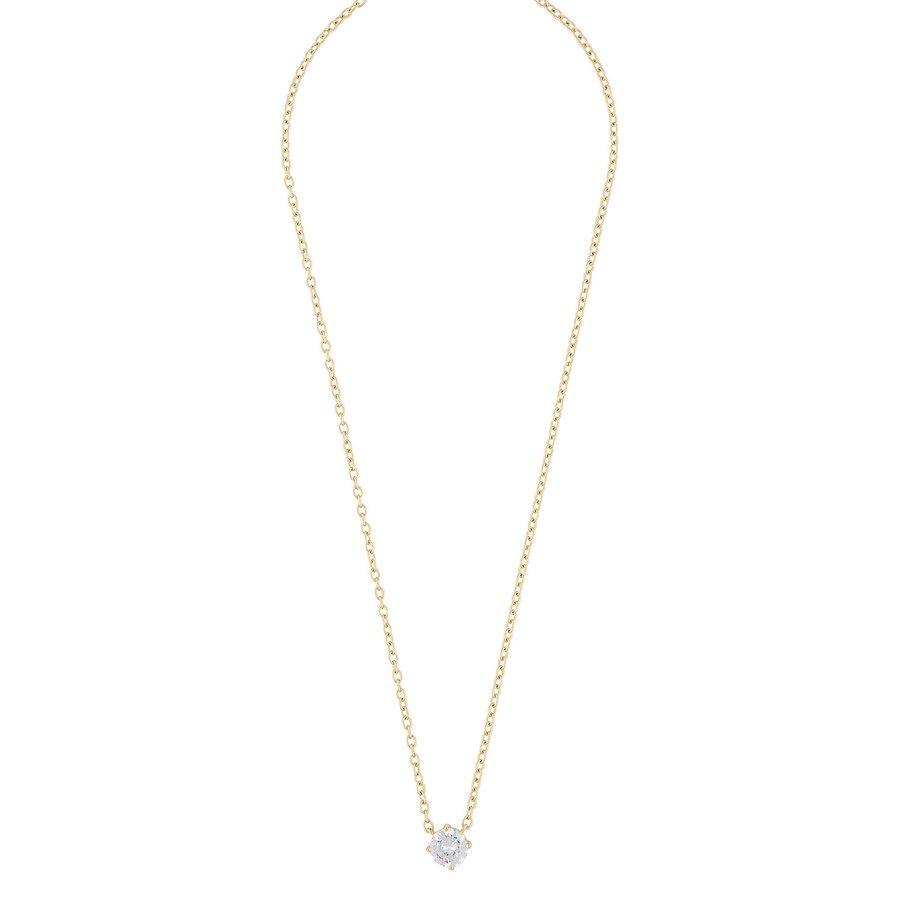Snö Of Sweden Luire Stone Pendant Necklace ─ Gold/Clear 40 cm