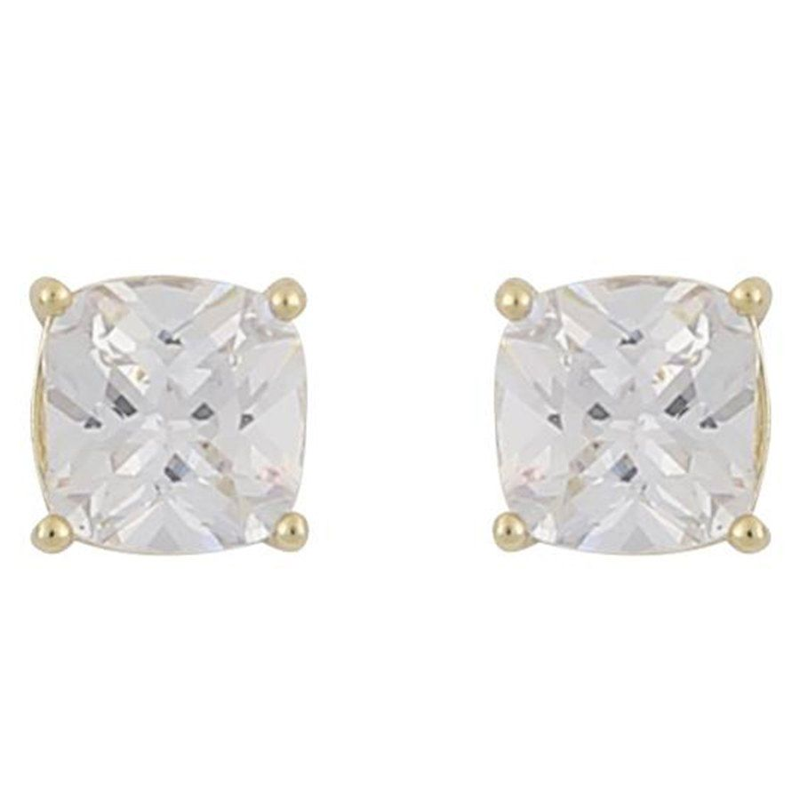 Snö Of Sweden Camille Square Stone Earring ─ Gold/Clear