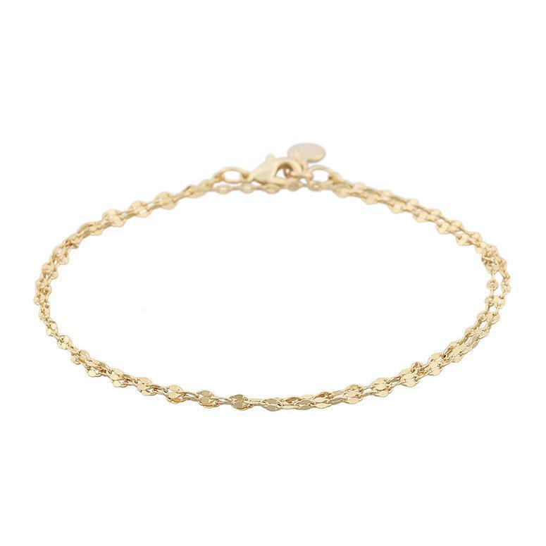 Snö Of Sweden Stine Double Chain Bracelet 16–17 cm ─ Plain Gold