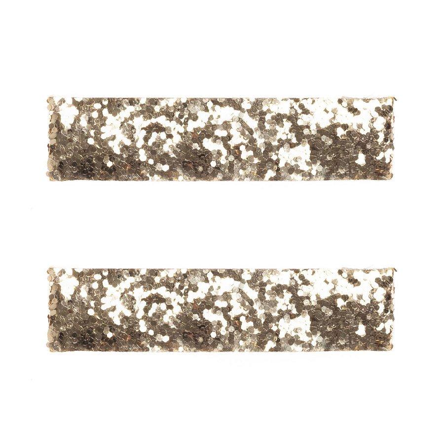 DARK Glitter Hair Clips 2 kpl ─ Large Gold