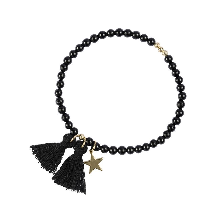 DARK Stone Bead Bracelet Shiny 4 mm ─ Black