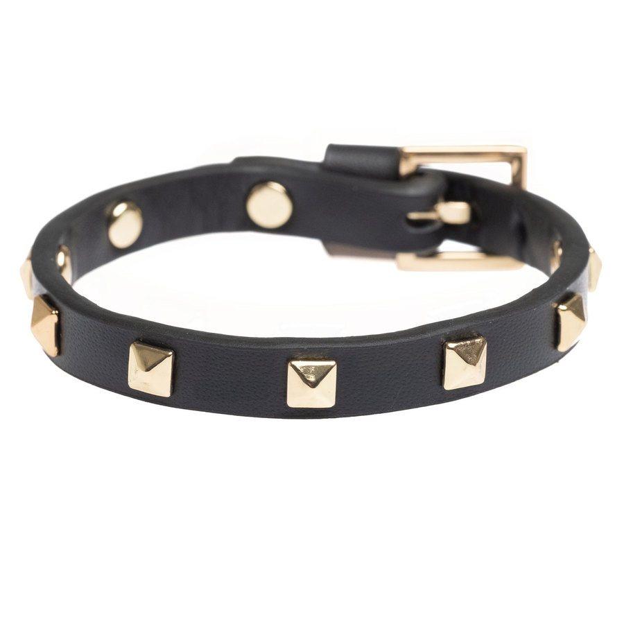 DARK Leather Stud Bracelet ─ Mini Black With Gold