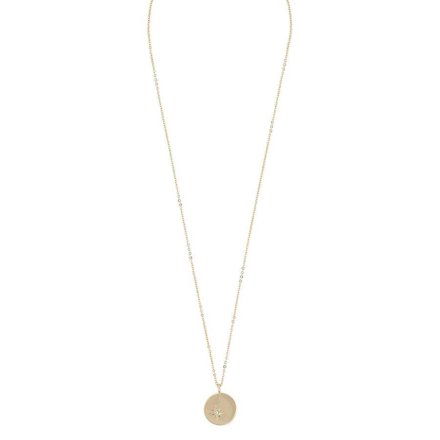 Snö Of Sweden Feliz Pendant Coin Necklace ─ Gold/Clear 45 cm