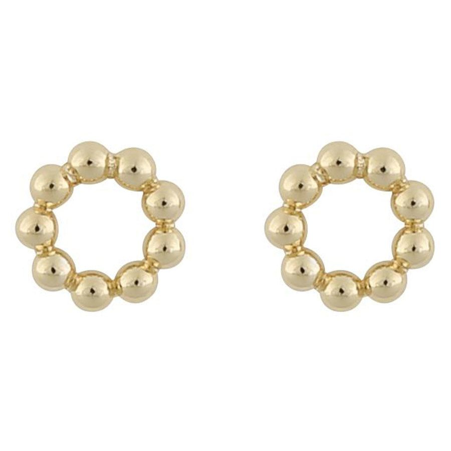 Snö Of Sweden Point Small Round Earring ─ Plain Gold