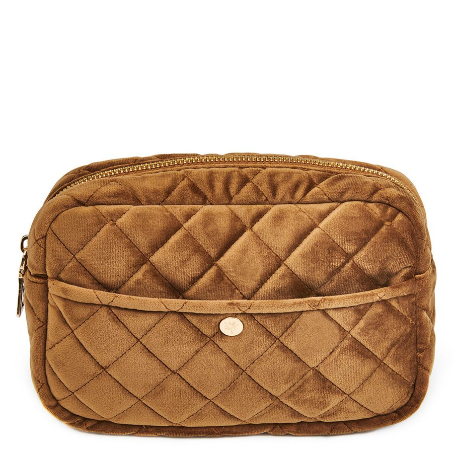 Fan Palm Beauty Bag Quilted Velvet Medium – Cognac