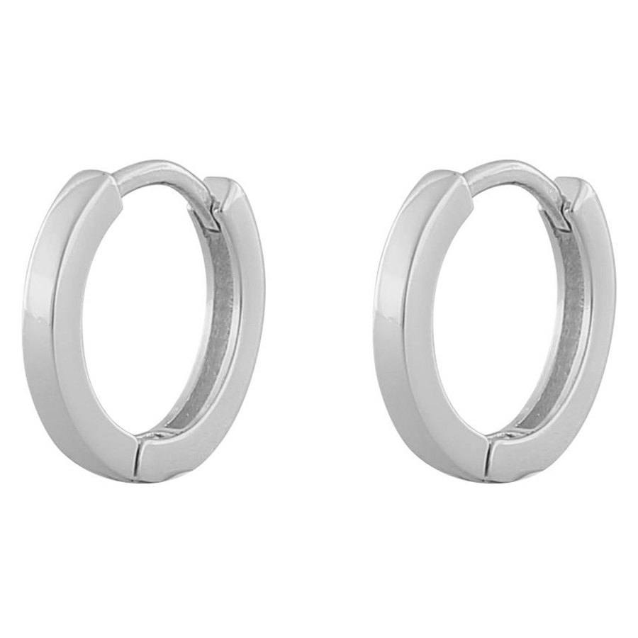 Snö Of Sweden Anchor Small Ring Earring ─ Plain Silver