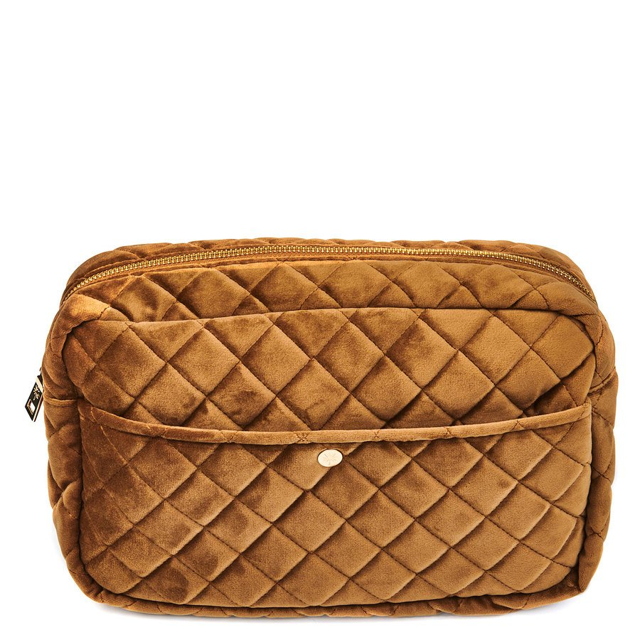 Fan Palm Beauty Bag Quilted Velvet Large – Cognac