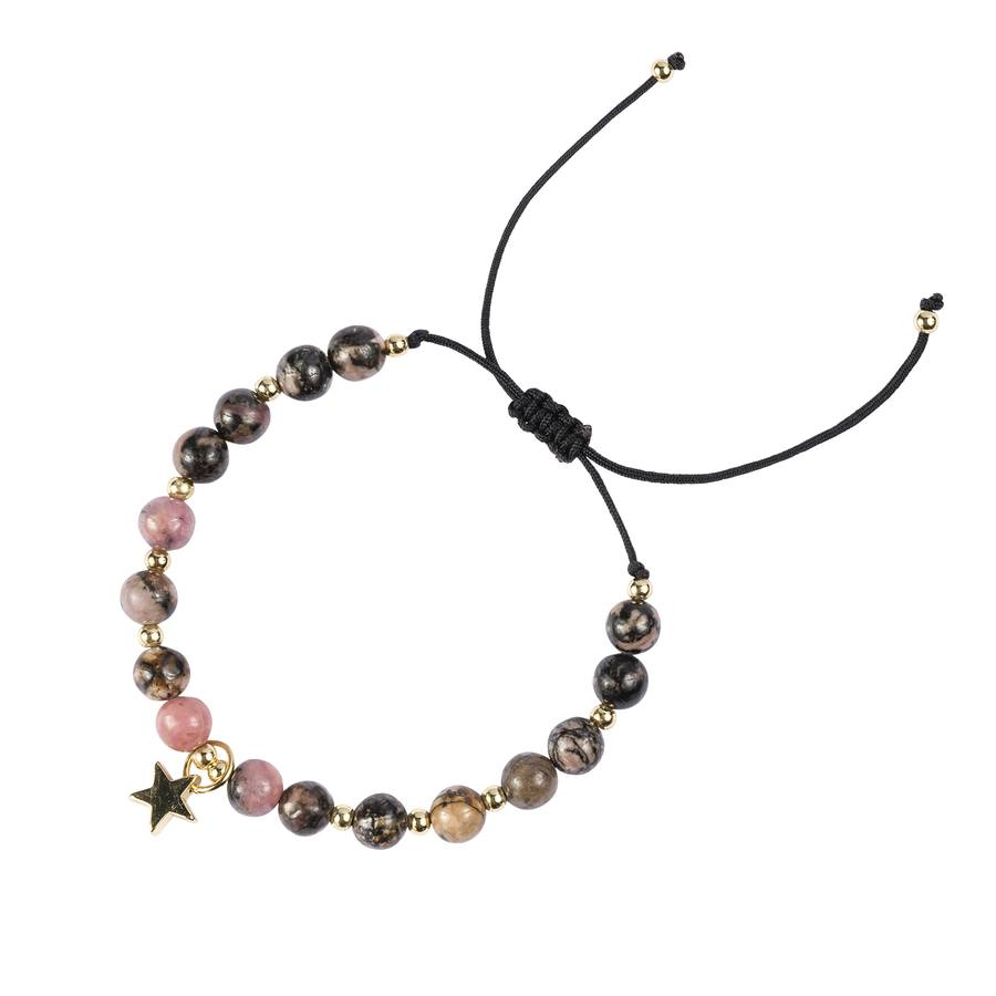 DARK Stone Bead Bracelet 6 mm ─ Rose & Blacks