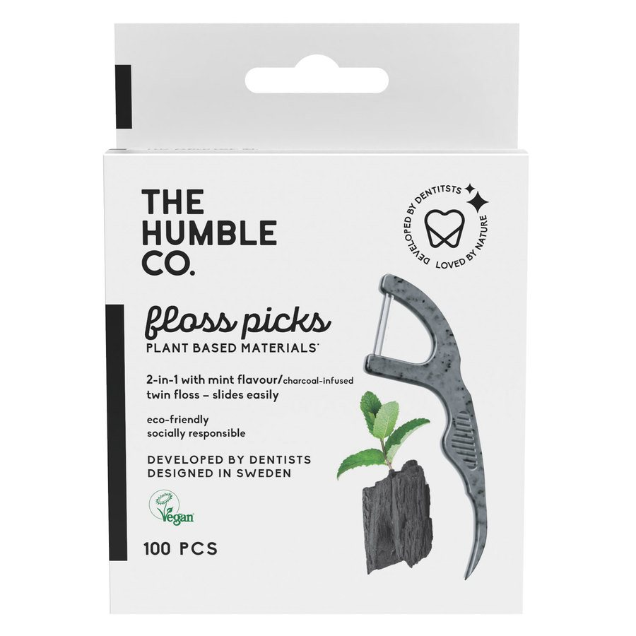 The Humble Co Dental Floss Picks 50 kpl – Charcoal