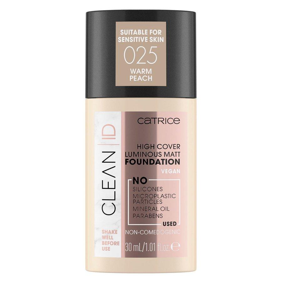 Catrice Clean ID High Cover Luminous Matt Foundation 30 ml – Warm Peach 025