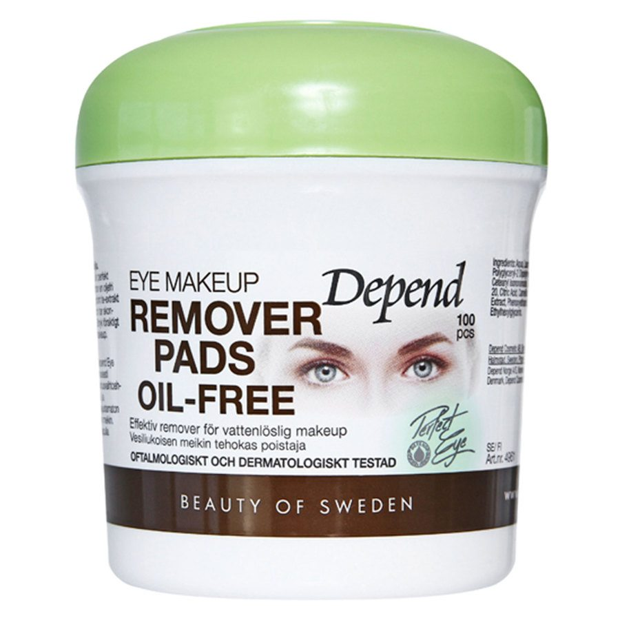 Depend Eye Makeup Remover Pads Oil-Free 100 kpl