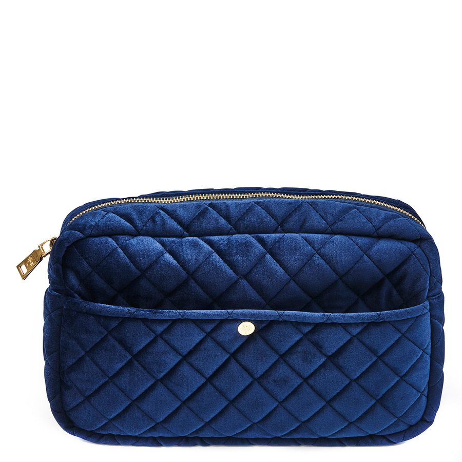 Fan Palm Beauty Bag Quilted Velvet Large – Midnight Blue