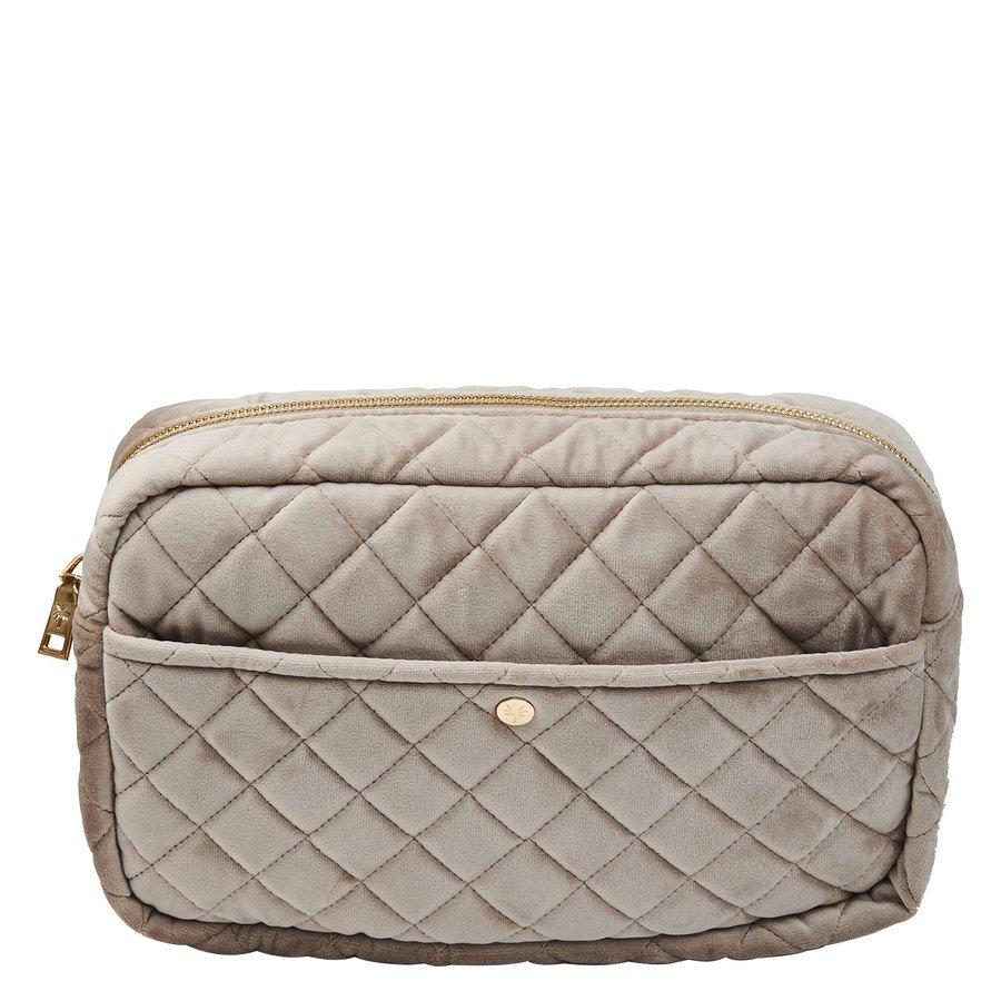 Fan Palm Beauty Bag Quilted Velvet Large – Camel