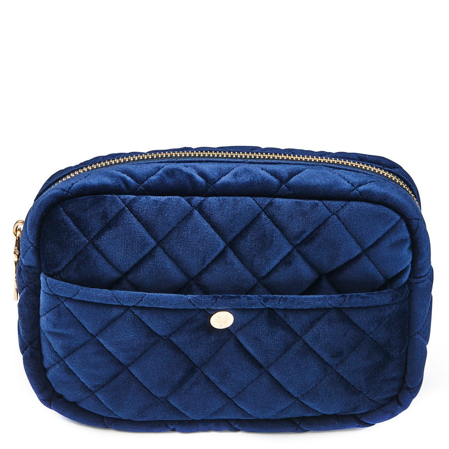 Fan Palm Beauty Bag Quilted Velvet Medium – Midnight Blue