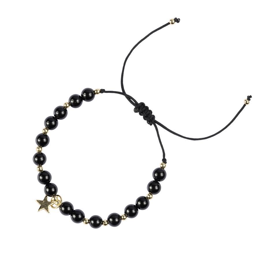 DARK Stone Bead Bracelet 6 mm ─ Shiny Black