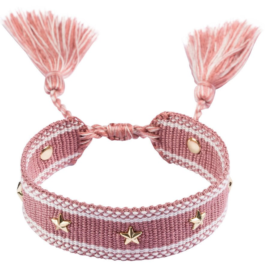DARK Woven Friendship Bracelet With Star Stud ─ Dusty Rose