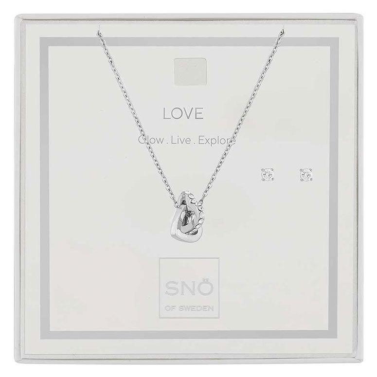 Snö Of Sweden Valentine Love Necklace Set – Silver/Clear