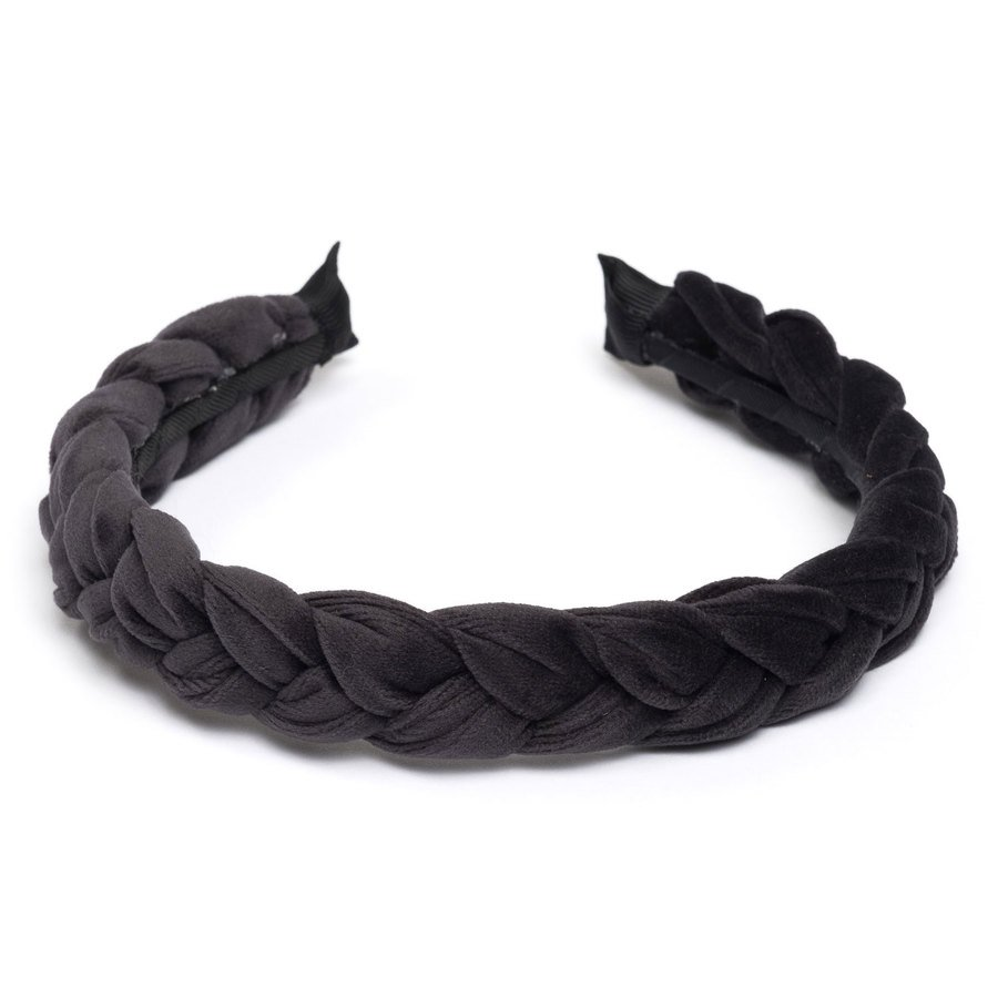 DARK Velvet Braided Hairband ─ Charcoal