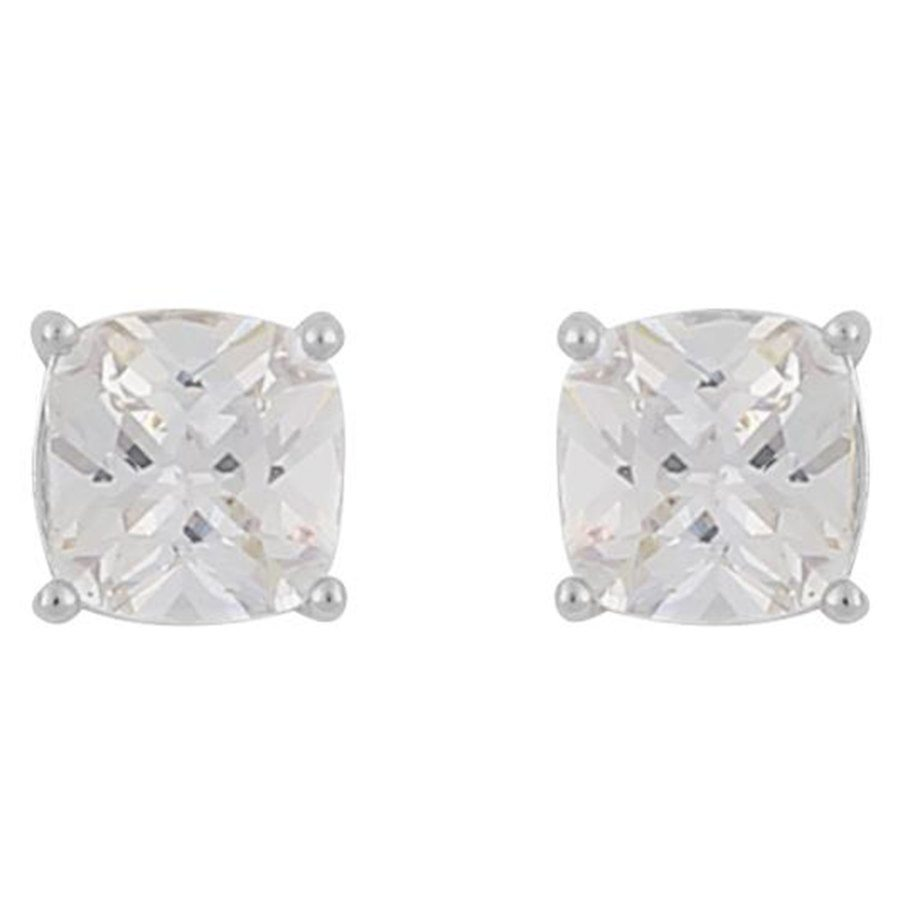 Snö Of Sweden Camille Square Stone Earring ─ Silver/Clear