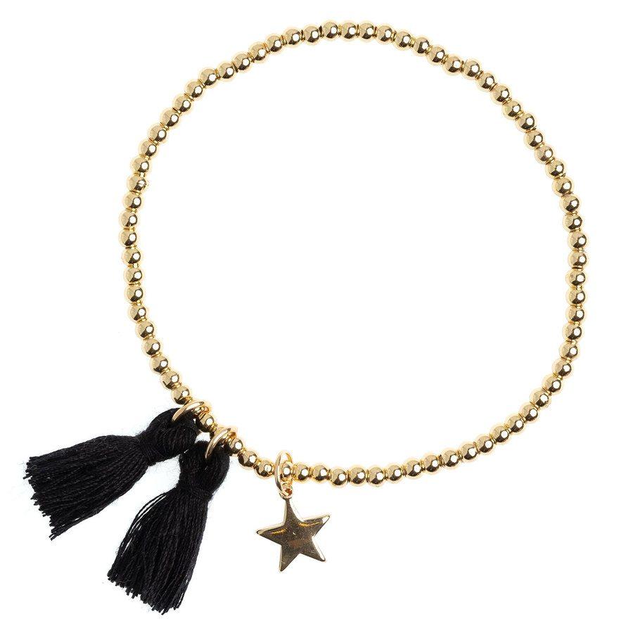DARK Metal Bead Bracelet With Tassel ─ Black