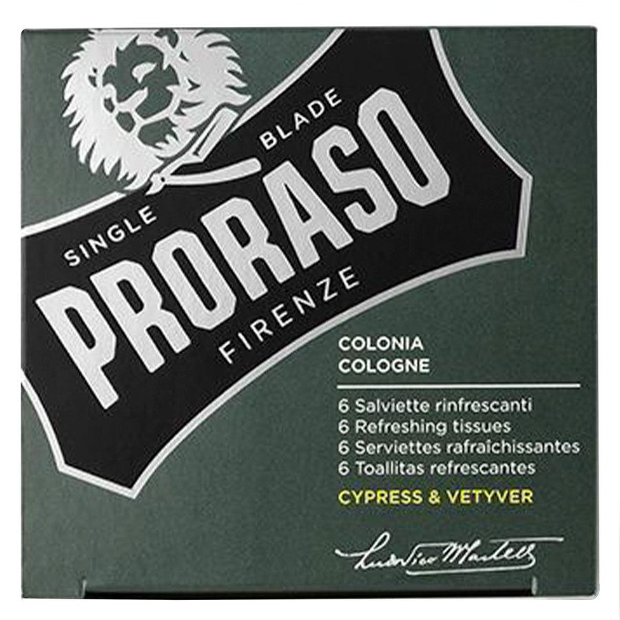 Proraso Beard Wipes Cypress & Vetyver 6 kpl