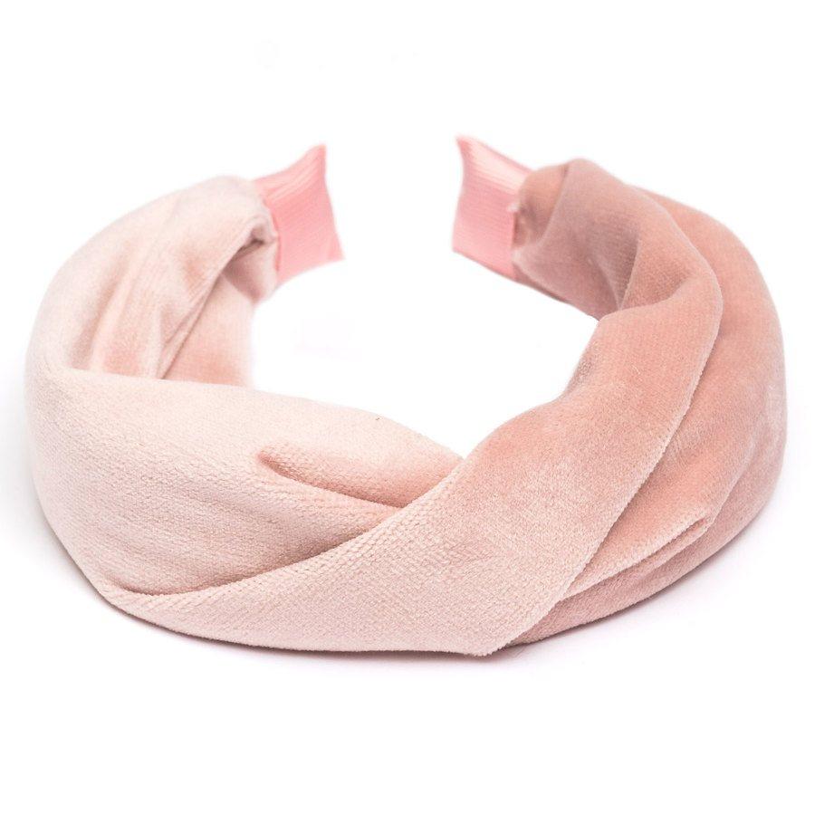 DARK Velvet Folded Hairband ─ Pale Rose