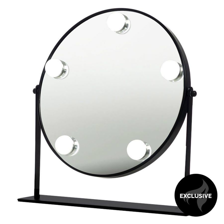 Shelas 5 LED Hollywood Meikkipeili Pyöreä Ø30cm - Musta