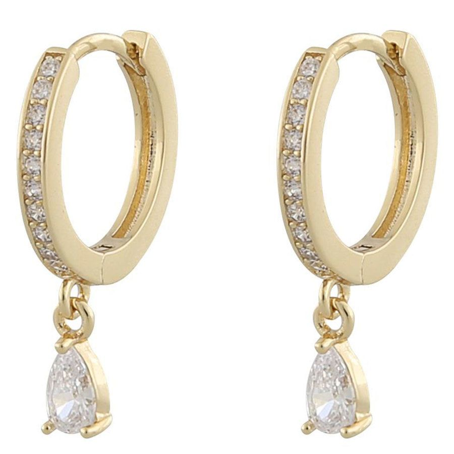 Snö Of Sweden Camille Drop Ring Earring ─ Gold/Clear