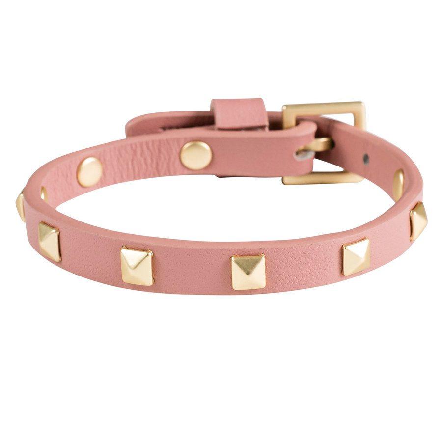 DARK Leather Stud Bracelet ─ Mini Dusty Rose With Matte Gold