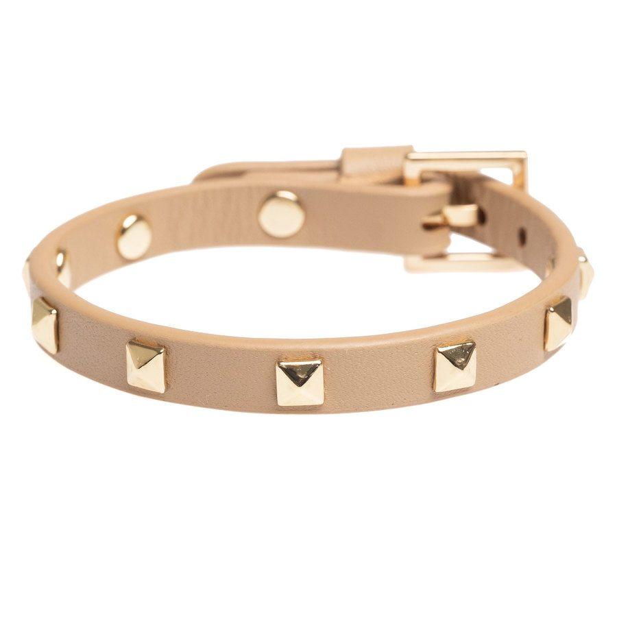 DARK Leather Stud Bracelet ─ Mini Sand With Gold